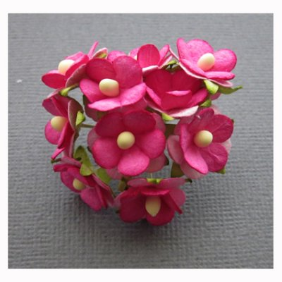 Small paper flowers - fuchsia, 10 pcs