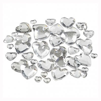 Heart embellishments - clear/silver, 252 pcs