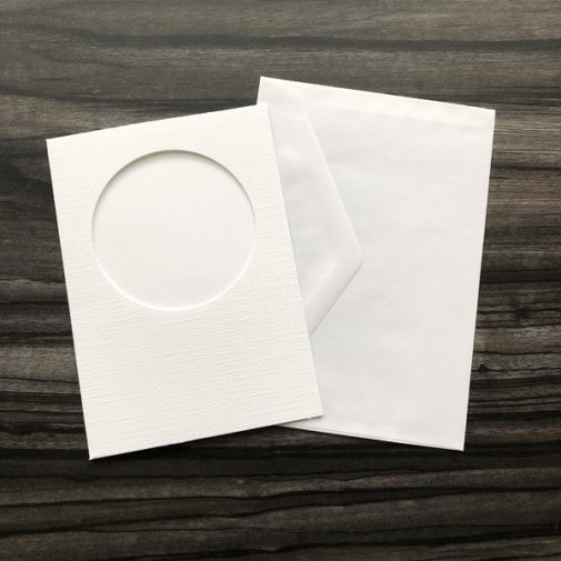 C6 Card and envelope pack, round aperture/wh, 5 pcs