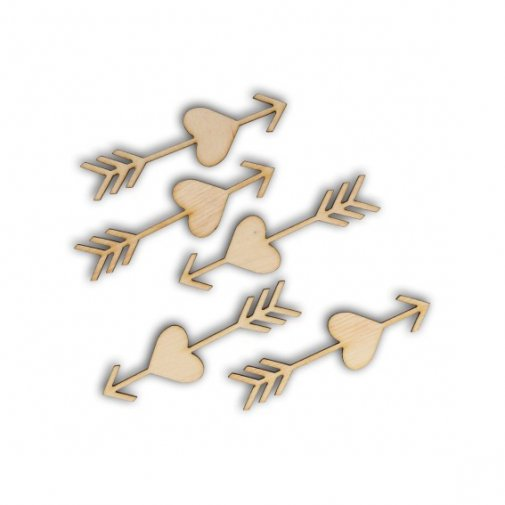 Wooden embellishments: Arrows, 5 pcs