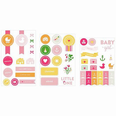 PL chipboard stickers: Baby Girl, 52 pcs