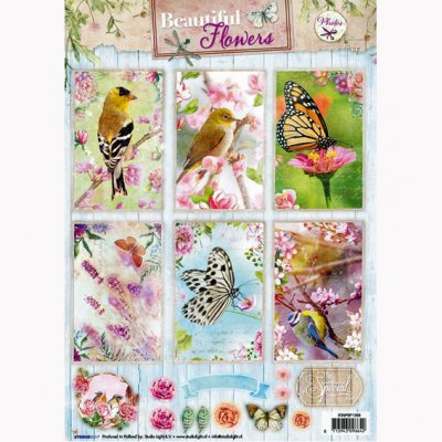 A4 Studiolight kuva-arkki: Beautiful Flowers - linnut/perhoset