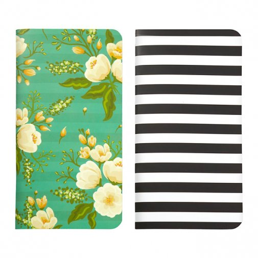 Traveler\'s notebook -vihot 2kpl: Blk Stripe & Green Floral