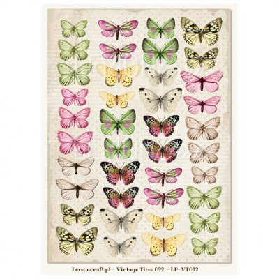 A4 LC sheet: Vintage Time 022 - butterflies