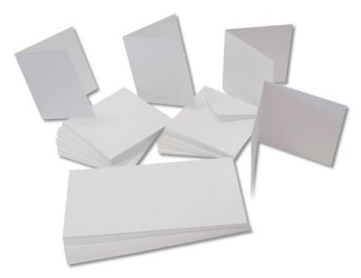 "5x7"" Card and envelope pack, white, 50pcs"