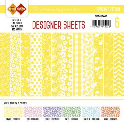 "6x6"" Card Deco paper pad: Spring - yellow"