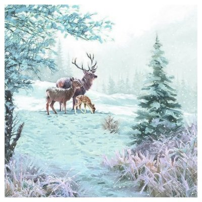Servetti 33x33cm: Deer Family, 5 kpl