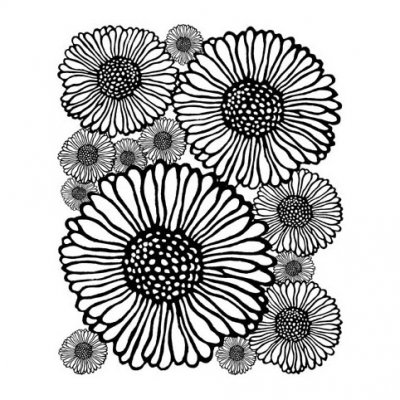 LCD -leimasin: Doodle Flowers -tausta