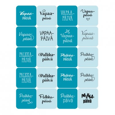 Dekorette stickers: Day-off/payday, square - turquoise