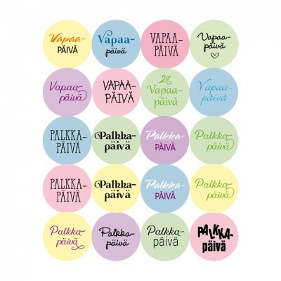 Dekorette stickers: Free/pay day, circles - pastels