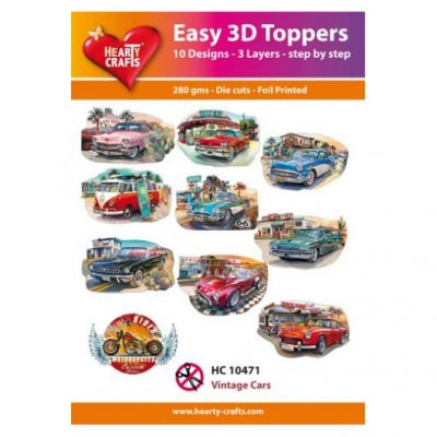 Hearty Crafts 3d kuvat: Vintage Cars, 10 kpl