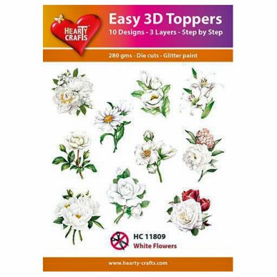 Hearty Crafts 3d kuvat: Flowers - White, 10 kpl