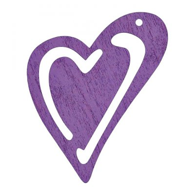 Wooden heart, 10 pcs - purple