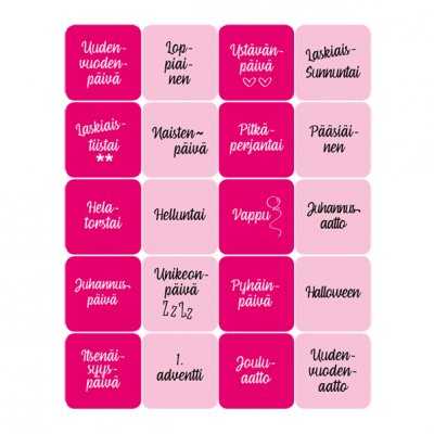 Dekorette stickers: Holidays, square - pinks