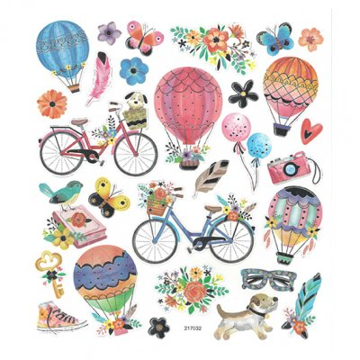 Sticker sheet: Hot air balloons and bicycles