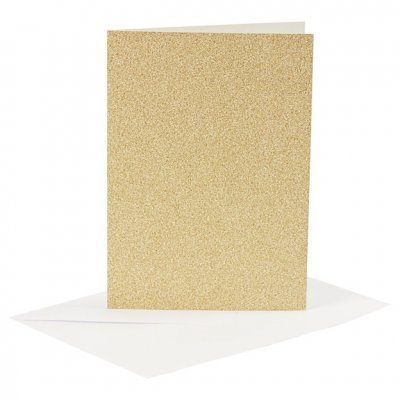 C6 Card and envelope pack, gold glitter, 4 pcs
