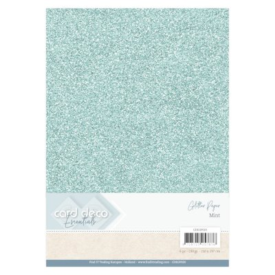 CardDeco Glitter cardstock A4, 230g - mint