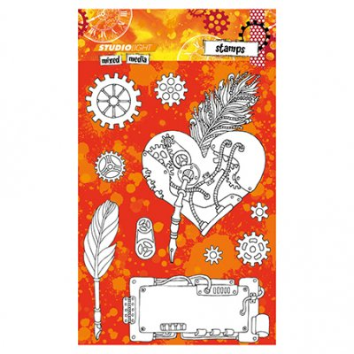 StudioLight stamp set: Cogs, feathers (MM)