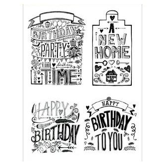 CE stamp set: Handletter - bday, home