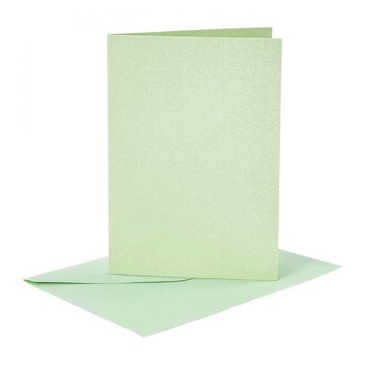 C6 Card and envelope pack, green pearlecent, 4 pcs