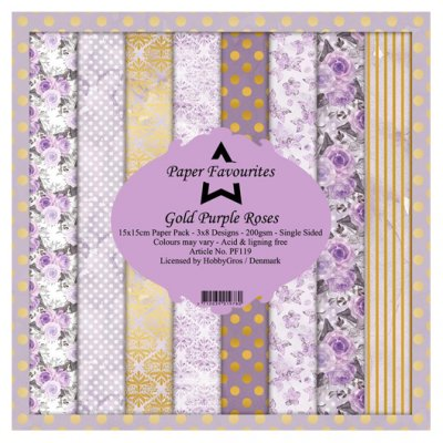 "6x6"" PF paperikko: Gold Purple Roses"