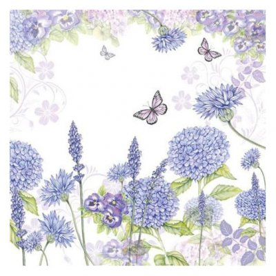 Servetti 33x33cm: Purple wildflowers, 5 kpl