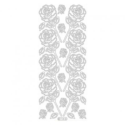 Outline sticker sheet: Roses - SILVER