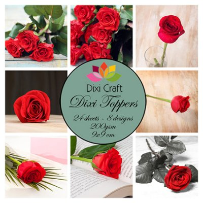 Dixi Craft toppers: Roses - color, 24pcs