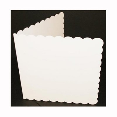 "6x6"" Card and enelope pack, scalloped/white, 50pcs"
