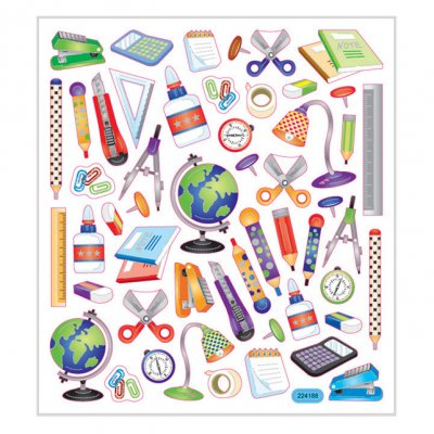 Sticker sheet: School supplies