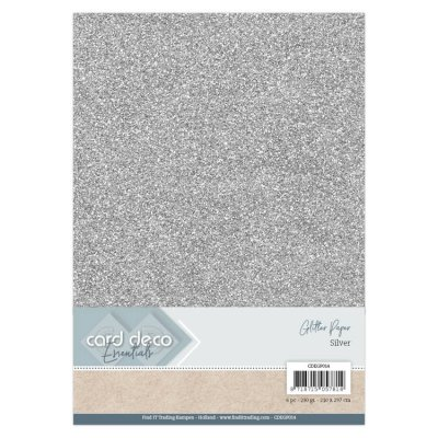 CardDeco Glitter cardstock A4, 230g - silver
