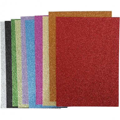 Foam sheet A4, 2mm: glitter, 10 pcs