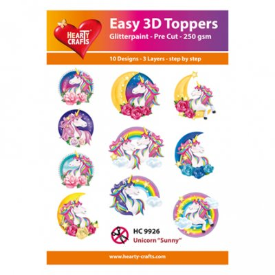 Hearty Crafts 3d toppers: Unicorn - Sunny, 10 pcs
